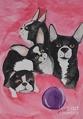 Boston Terrier Family Poster by Maria Urso