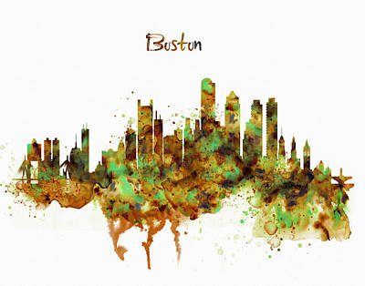 Boston Watercolor Skyline Poster by Marian Voicu