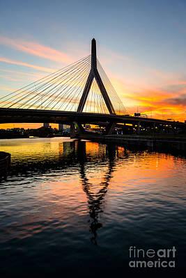 Boston Zakim Bunker Hill Bridge At Sunset Poster by Paul Velgos