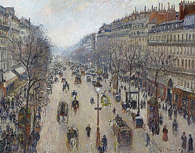 Boulevard Montmartre Morning Cloudy Weather  Poster by Camille Pissarro