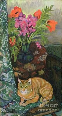 Bouquet And A Cat Poster by Marie Clementine Valadon