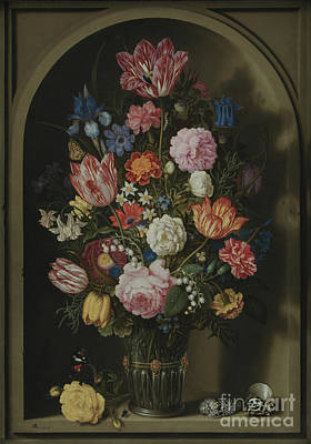 Bouquet Of Flowers In A Stone Niche Poster by Ambrosius the Elder Bosschaert