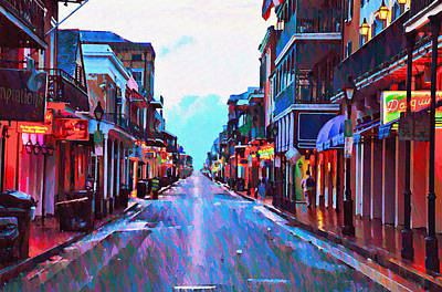 Bourbon Street At Dawn Poster by Bill Cannon