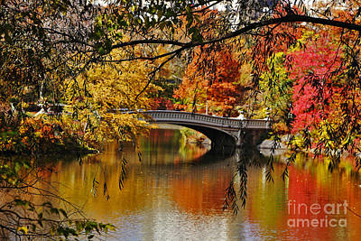 Bow Bridge In Autumn Poster by Nishanth Gopinathan