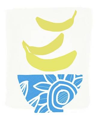Bowl Of Bananas- Art By Linda Woods Poster by Linda Woods