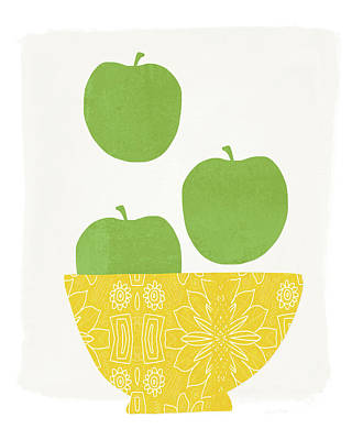 Bowl Of Green Apples- Art By Linda Woods Poster by Linda Woods
