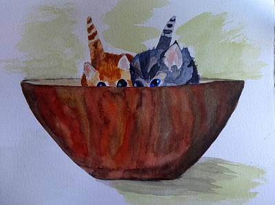 Bowl Of Kittens Poster by Irina Stroup