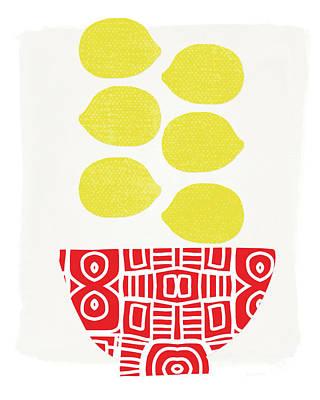 Bowl Of Lemons- Art By Linda Woods Poster by Linda Woods