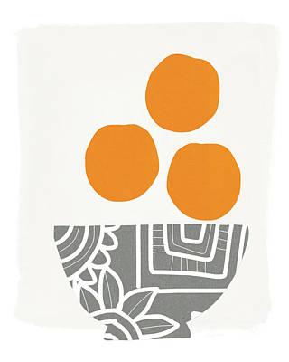Bowl Of Oranges- Art By Linda Woods Poster by Linda Woods