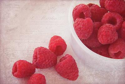 Bowl Of Red Raspberries Poster by Cindi Ressler