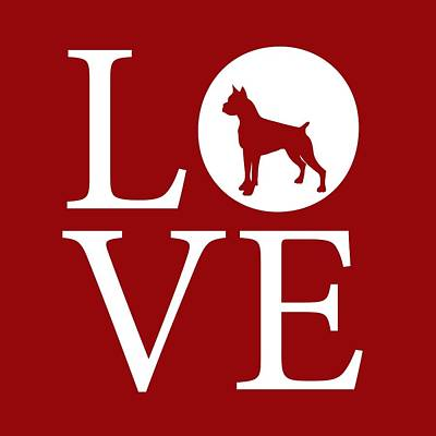 Boxer Love Red Poster by Nancy Ingersoll