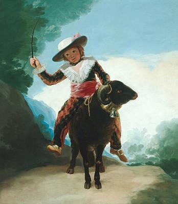 Boy On A Ram Poster by Francisco Goya