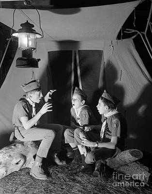 Boy Scouts Telling Ghost Stories Poster by D. Corson/ClassicStock