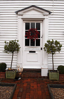 Boyden Gate House With Red Wreath Poster by Nancy Clendaniel