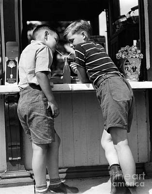 Boys Sharing A Soda With Two Straws Poster by H. Armstrong Roberts/ClassicStock