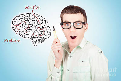 Brain Businessman With Creative Idea Illustration Poster by Jorgo Photography - Wall Art Gallery