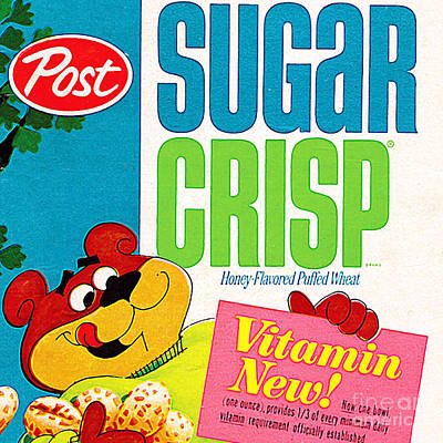Breakfast Cereal Super Sugar Crisp Pop Art Nostalgia 20160215 Sq Poster by Wingsdomain Art and Photography