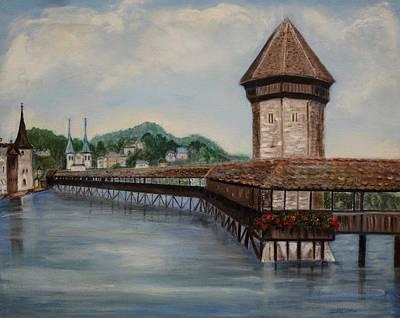 Bridge On Lake Lucerne Poster by Irene McDunn