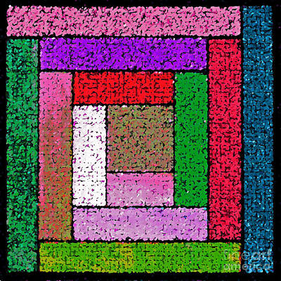Bright Log Cabin Quilt Square Poster by Karen Adams