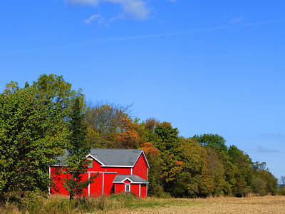 Bright Red Barn Poster by Tina M Wenger