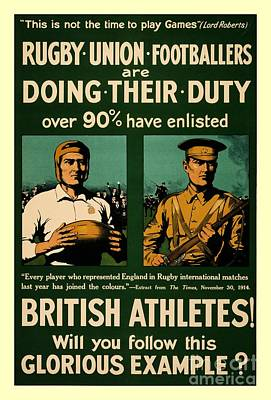 British Rugby Football Players Call For Duty Poster Poster by Heidi De Leeuw