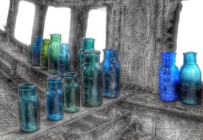 Bromo Seltzer Vintage Glass Bottles Poster by Marianna Mills