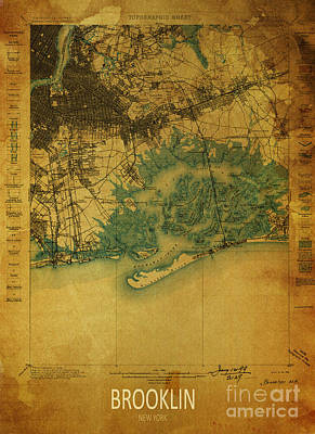 Brooklin 1898 - Historical Map Poster by Pablo Franchi