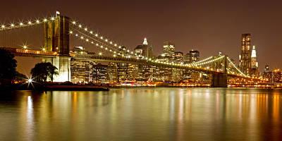 Brooklyn Bridge At Night Panorama 10 Poster by Val Black Russian Tourchin