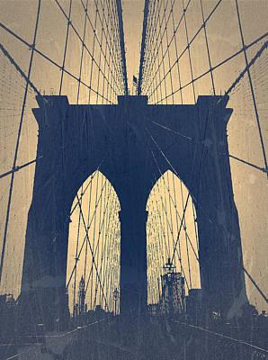 Brooklyn Bridge Blue Poster by Naxart Studio