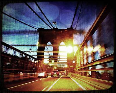Brooklyn Bridge Night View Poster by Joann Vitali