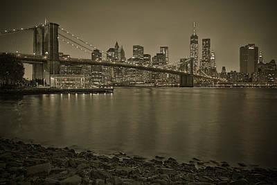 Brooklyn Bridge Nyc Skyline Sepia Poster by Susan Candelario