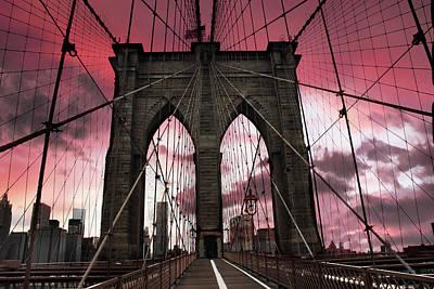 Brooklyn Bridge Sunset Silhouette Poster by Jessica Jenney