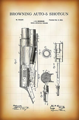 Browning Auto-5 Shotgun Patent  1900 Poster by Daniel Hagerman