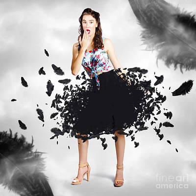 Brunette Pin-up Woman In Gorgeous Feather Skirt Poster by Jorgo Photography - Wall Art Gallery