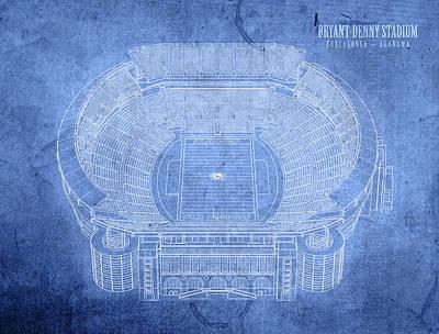 Bryant Denny Stadium Alabama Crimson Tide Football Tuscaloosa Field Blueprints Poster by Design Turnpike