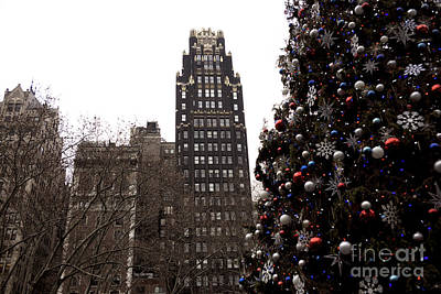 Bryant Park Hotel Christmas Poster by John Rizzuto