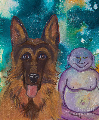 Buddha And The Divine German Shepherd No. 1319 Poster by Ilisa  Millermoon
