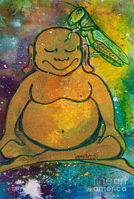 Buddha And The Divine Grasshopper No. 1309 Poster by Ilisa  Millermoon