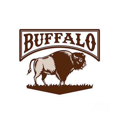Buffalo American Bison Side Woodcut Poster by Aloysius Patrimonio