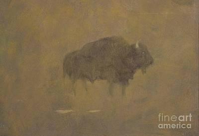 Buffalo In A Sandstorm Poster by Albert Bierstadt