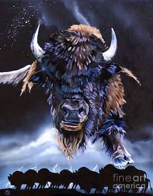 Buffalo Medicine Poster by J W Baker