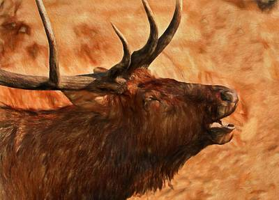 Bugling Bull Elk Autumn Background Poster by Dan Sproul