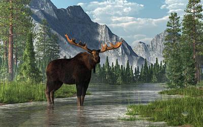 Bull Moose Poster by Daniel Eskridge