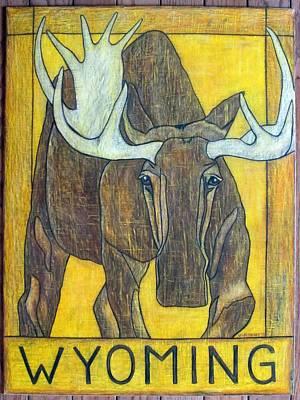 Bull Moose Wyoming Poster by Lauri Kraft