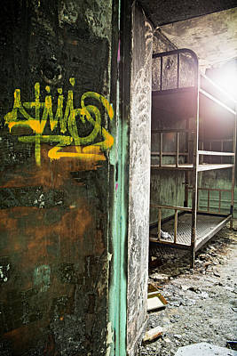 Bunk Beds At Abandoned Prison Cell Poster by Dirk Ercken