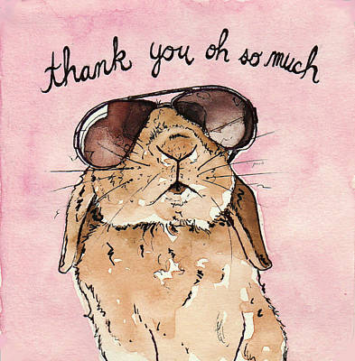 Bunny Rabbit Thank You Card Poster by Katrina Davis