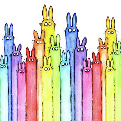 Bunny Rainbow Pattern Poster by Olga Shvartsur