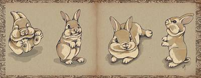 Bunny Sketch Poster by Veronica Minozzi
