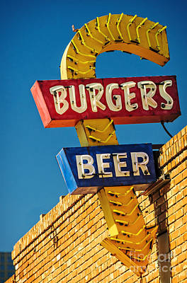Burgers And Beer Poster by Charles Dobbs
