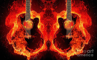 Burning Guitars Poster by Pd